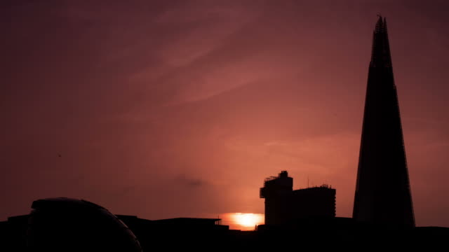 LONDON - CIRCA 2012: Time lapse of the Shard durind the sunset