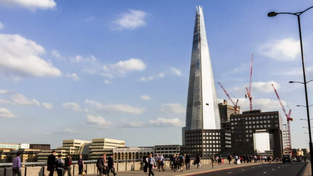 LONDON - CIRCA 2012:  Time lapse of the Shard from London Bridge circa 2012