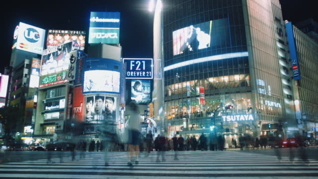 ws, time lapse of the shibuya crossing at night - shibuya crossing stock videos & royalty-free footage