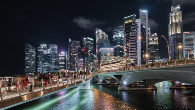 tl/ time lapse of the singapore skyline and financial district, with a pedestrian footbridge in the foreground, busy with people - 2020 business stock videos and b-roll footage