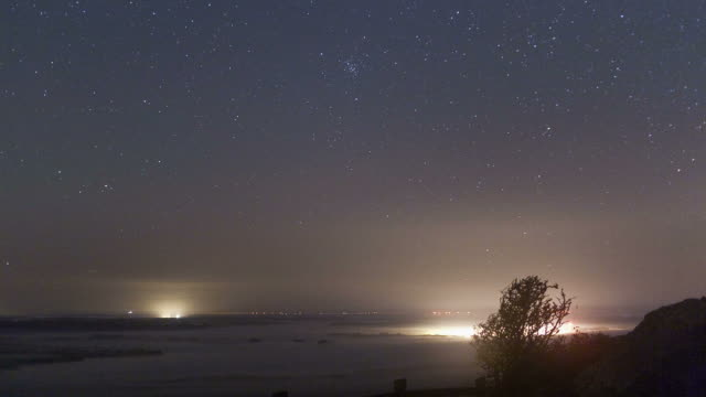 time lapse of the star cluster m44 in cancer and venus over brennillis lake in france - constellation stock videos & royalty-free footage