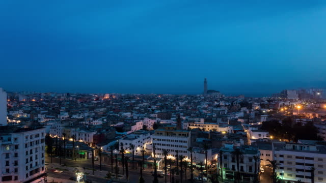 casablanca - time lapse of the sunrise in casablanca - casablanca morocco stock videos & royalty-free footage