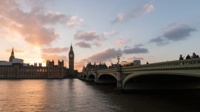 LONDON - Time Lapse of the Sunset looking Westminster Bridge and the Parlament