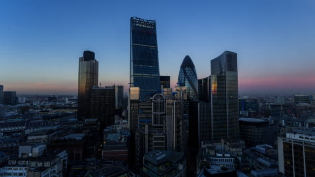 LONDON - CIRCA 2014: Time Lapse of the sunset of the new London skyline from the Walkie Talkie building