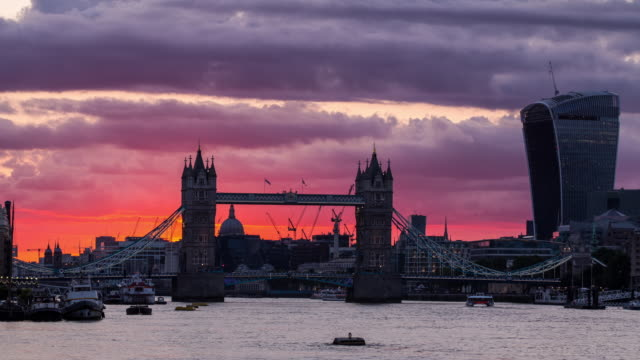 LONDON - CIRCA 2014: LONDON - CIRCA 2014: Time lapse of the sunset of Tower Bridge and Walkie Talkie building