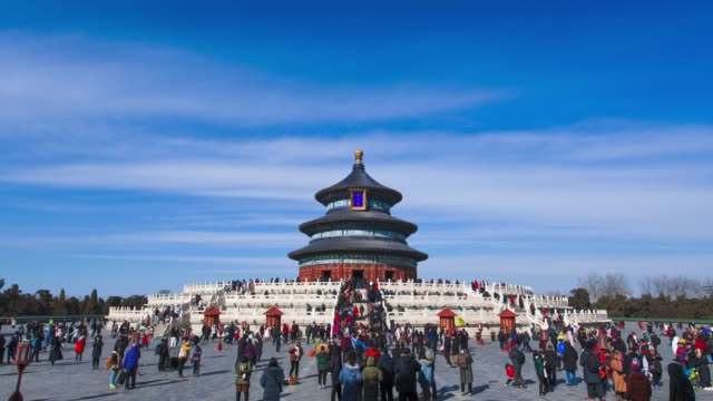 time lapse of the temple of heaven in beijing during chinese new year 2019 - temple building stock videos & royalty-free footage