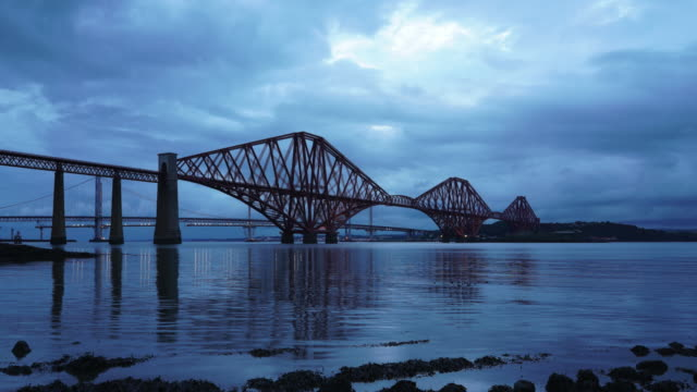 time lapse of the the forth bridge. - cantilever bridge stock videos & royalty-free footage