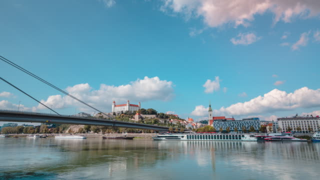 time lapse of the ufo bridge of bratislava and city view in slovakia - international landmark video stock e b–roll