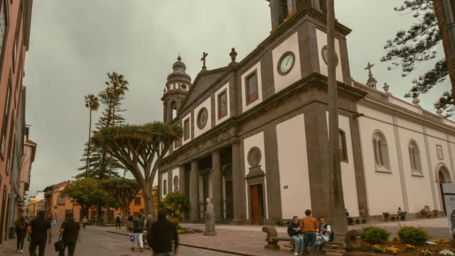 4K Time lapse of the UNESCO world heritage site of La Laguna, with the emblematic Cathedral, Tenerife