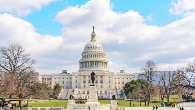 time lapse of the united states capitol building - monument stock videos & royalty-free footage