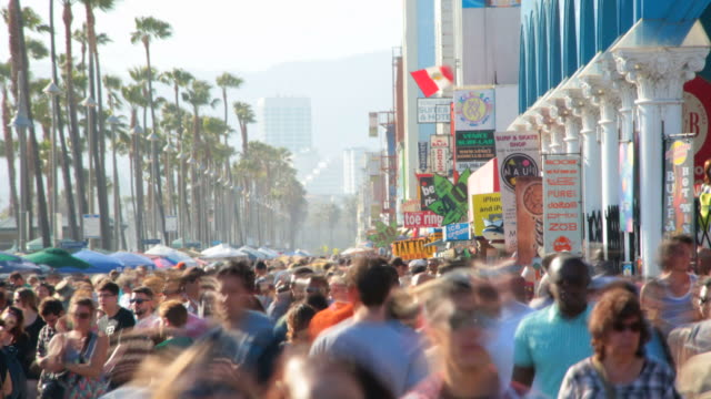 Time lapse of the VENICE BEACH BOARDWALK with thousands of tourist walking around shopping and taking in the strange California beach culture.