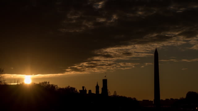 Time Lapse of the Washington Monument in Washington DC USA on Monday February 26 2018