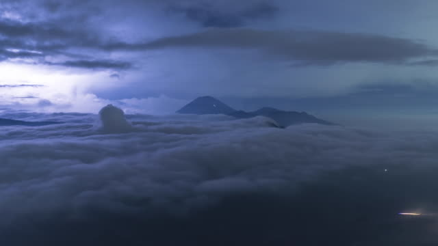Time lapse of thunderstorm over Gunung Bromo Volcano on Java Island