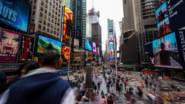 NEW YORK - CIRCA 2014: Time Lapse of Time Square in cloudy day in New York City