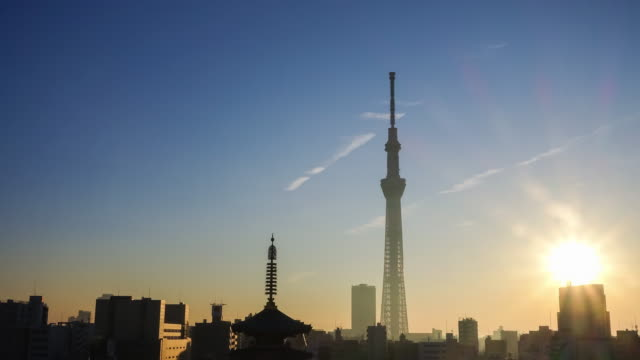 vídeos de stock, filmes e b-roll de lapso de tempo de tóquio horizonte, com senso-ji templo - templo asakusa kannon