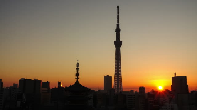 time lapse of tokyo skyline with senso-ji temple - pagoda stock videos & royalty-free footage