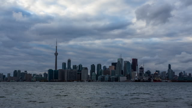 TORONTO - CIRCA 2014: Time Lapse of Toronto Skyline in a cloudy day from Toronto Island