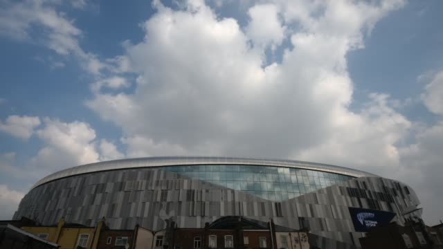time lapse of tottenham hotspur stadium showing the west exterior of the stadium shot on 30th march 2019 in tottenham uk - stadium stock videos & royalty-free footage
