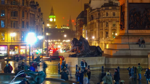 Time lapse of tourist at Trafalgar Square