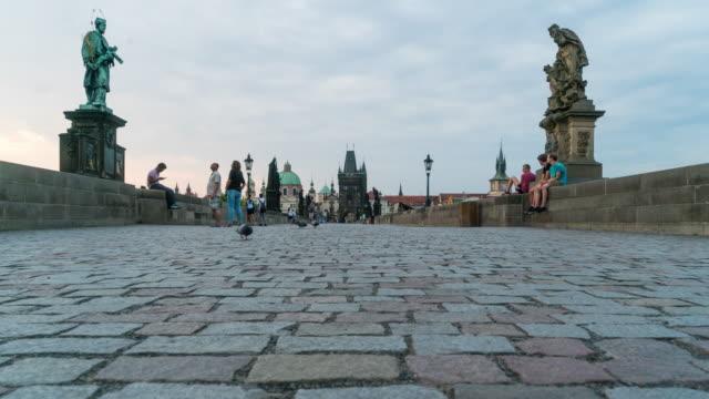 Time Lapse of Tourist walking at Charles Bridge, Prague