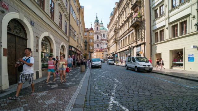 time lapse of tourist walking at prague downtown, czech - old town bridge tower stock videos and b-roll footage