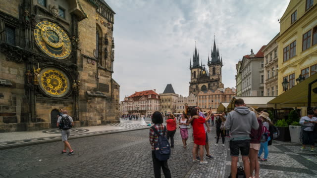 Time Lapse of Tourist walking at Prague town centre, Czech