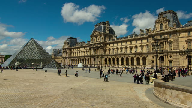 Time lapse of tourists outside Louvre, Paris, Ile-de-France, France