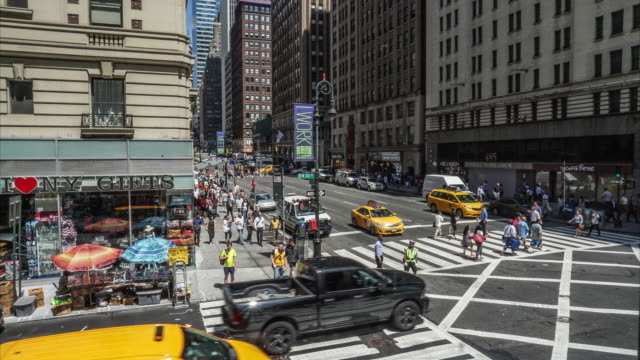 time lapse of traffic and people in new york city - silvestre stock videos & royalty-free footage