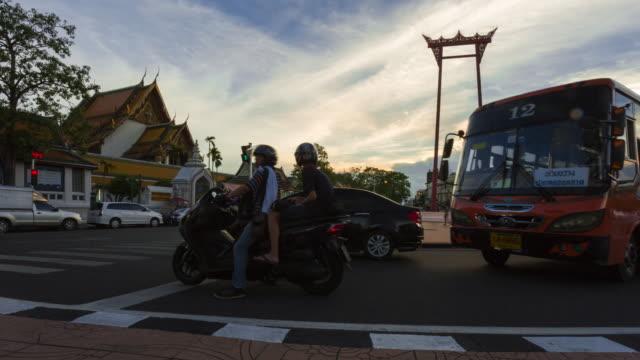 Time lapse of traffic around Giant Swing in Bangkok, Thailand