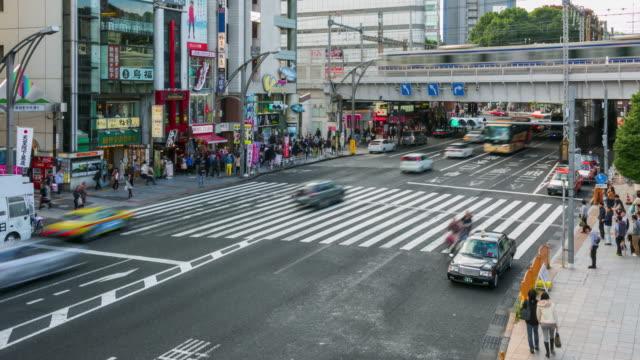 Time lapse of traffic crossroad near Ueno station, Japan