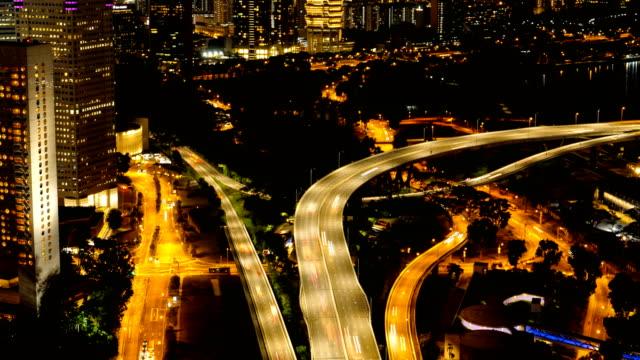 4K time-lapse van verkeer in de stad singapore