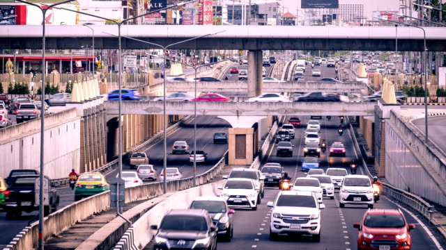 Time lapse of Traffic jam in Bangkok , Thailand
