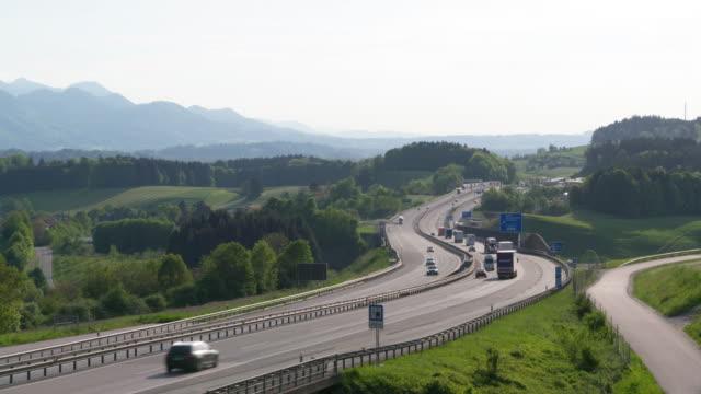 Time Lapse of traffic on motorway A8. Upper Bavaria, Bavaria, Germany, Europe.