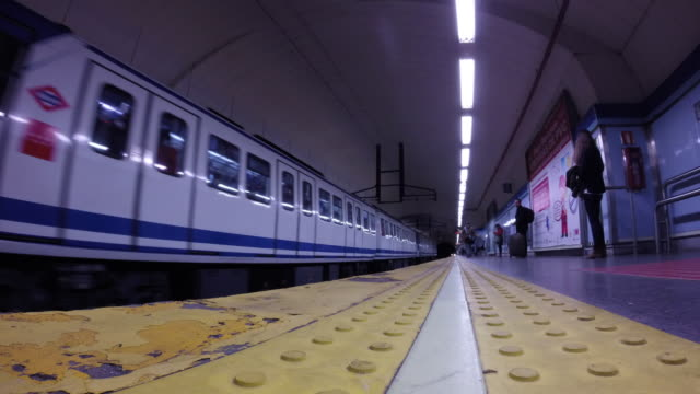Time lapse of trains arrivals in subway station