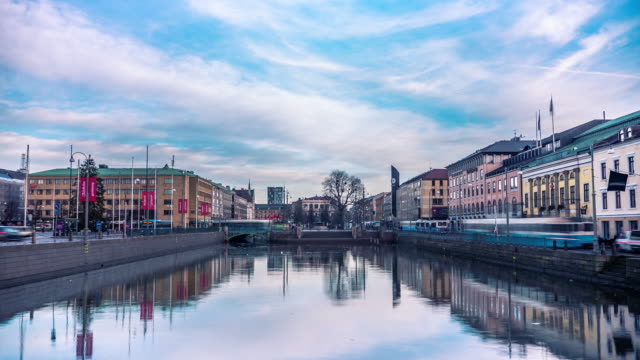 Time-lapse van trams in Gothenburg City Zweden