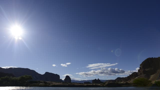 Time lapse of tranquil landscape along Chubut River, Chubut Province, Argentina