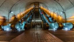 4K Time lapse of Undefined passenger using escalator at Washington DC Metro Train Station in rush hour, United States, public transportation concept