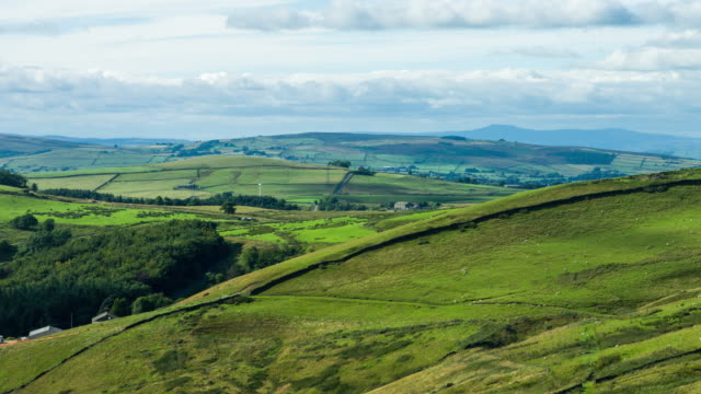 time lapse of verdant lancashire pennine valley - lancashire stock videos and b-roll footage