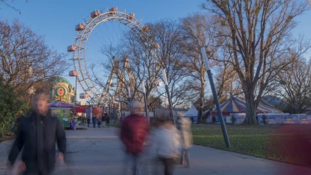 time lapse of viennese giant ferris wheel, vienna, austria, europe - prater park stock videos & royalty-free footage