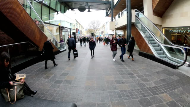 time lapse of walking thru shopping area in bristol - bristol england stock videos & royalty-free footage