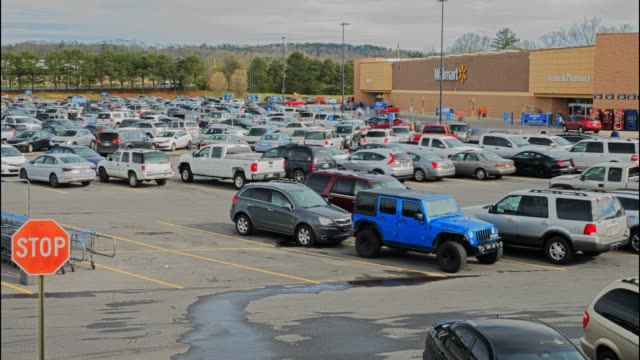Time lapse of Walmart super shopping center parking lot in north Georgia USA