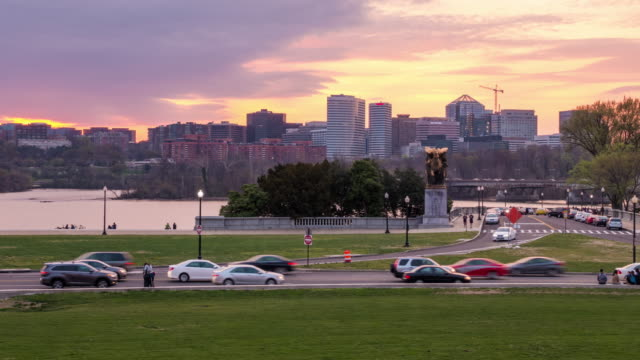 time lapse of washington, dc  with the rosslyn, arlington, virginia skyline - arlington virginia stock videos & royalty-free footage