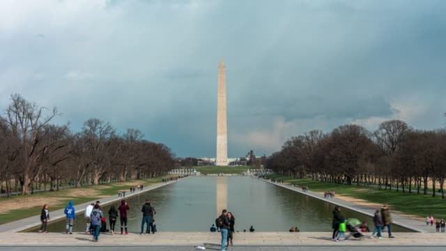 4k time lapse of washington monument is an obelisk on the national mall with reflecting pool and tourist in washington, d.c., usa, architecture and attraction concept - washington monument washington dc stock videos & royalty-free footage