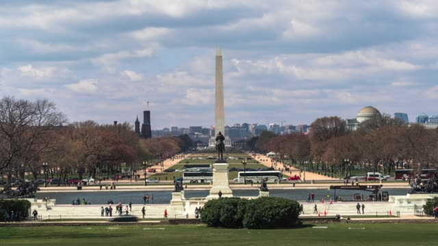 4k time lapse of washington monument on the national mall with reflecting pool and lincoln memorial view from united states capitol in washington, d.c., usa, architecture and attraction concept - washington monument washington dc stock videos & royalty-free footage