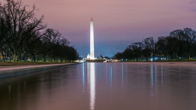 time lapse of washington monument with reflecting pool - washington monument washington dc stock videos & royalty-free footage
