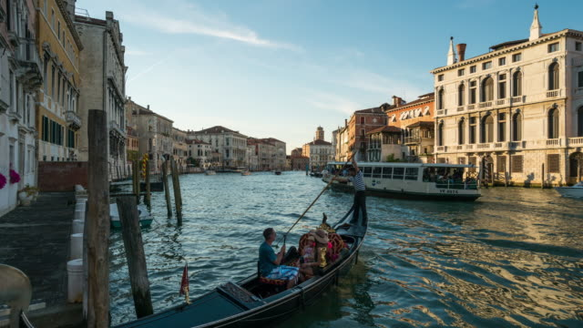 time lapse of water transportation at grand canal, venice - grand canal venice stock videos & royalty-free footage