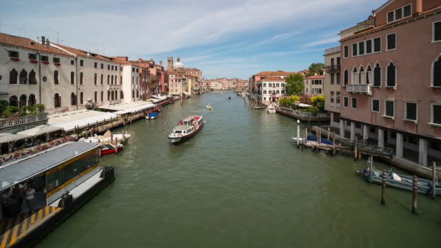 time lapse of water transportation at grand canal, venice - 14th century bc stock videos & royalty-free footage
