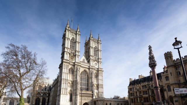 time lapse of westminster abbey on a wintry day - westminster abbey stock videos & royalty-free footage