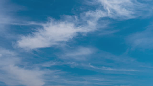 time lapse of white clouds in the blue sky. - wispy stock videos & royalty-free footage