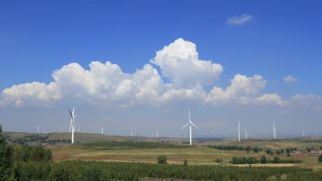 Time lapse of wind turbine, 4k footage